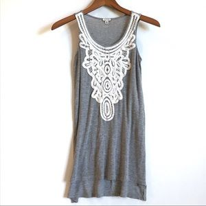 Eyeshadow Lace Front Grey Tank Top Size XS